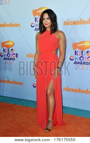 Demi Lovato at the Nickelodeon's 2017 Kids' Choice Awards held at the USC Galen Center in Los Angeles, USA on March 11, 2017.