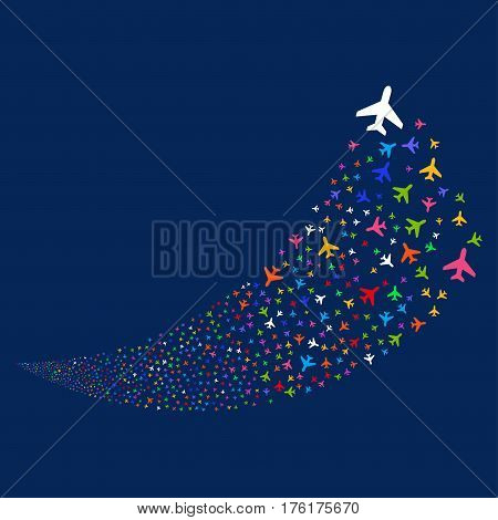 Air Plane random fireworks stream. Vector illustration style is flat bright multicolored iconic symbols on a blue background. Object fountain organized from scattered design elements.