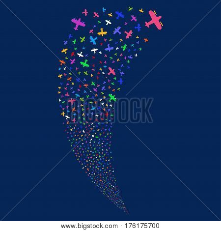Aircraft random fireworks stream. Vector illustration style is flat bright multicolored iconic symbols on a blue background. Object fountain done from scattered design elements.