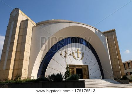 TIRANA, ALBANIA - SEPTEMBER 27: Orthodox Cathedral of the Resurrection of Christ in Tirana, Albania on September 27, 2016.