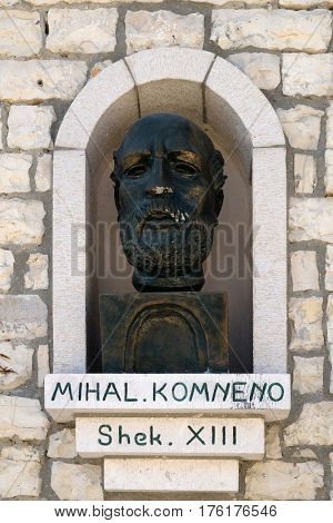 BERAT, ALBANIA - OCTOBER 01, 2016: Memorial of Michael I Komnenos Doukas founder and first ruler of the Despotate of Epirus, Berat, Albania on October 01, 2016.