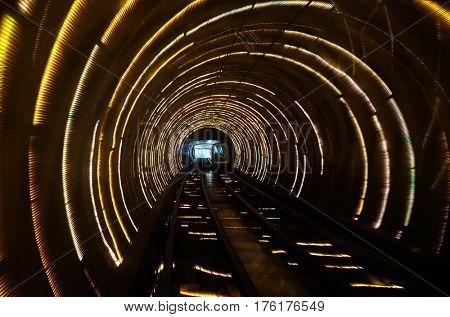SHANGHAI - FEBRUARY 29: Sight seeing tunnel under Huangpu river in Shanghai, China, February 29, 2016.