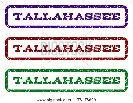 Tallahassee watermark stamp. Text caption inside rounded rectangle frame with grunge design style. Vector variants are indigo blue, red, green ink colors. Rubber seal stamp with dust texture.