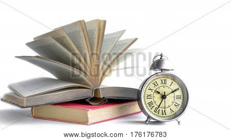Roman Numeral in Vintage Alarm Clock and Flipping Book with Background for Copy Space for Advertise or Web Promote about the Educate Concept