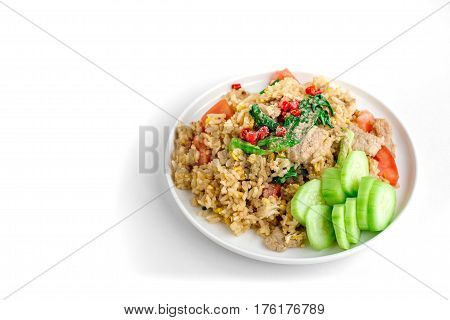 Thai Fried Rice with Isolated White Background for Copy Space Street Food for Rush Hour Image for Food Advertise Concept