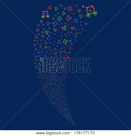 Buzzer random fireworks stream. Vector illustration style is flat bright multicolored iconic symbols on a blue background. Object fountain created from scattered symbols.