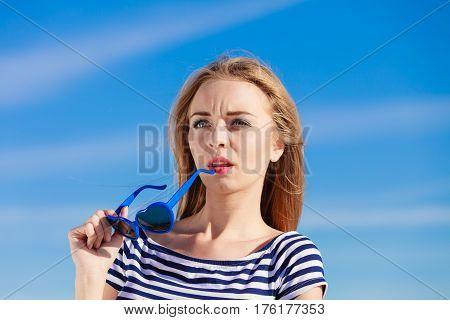 Girl Enjoying Summer Breeze Sky Background