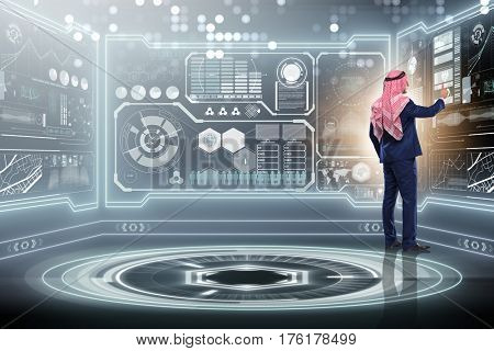 Arab man in data management concept
