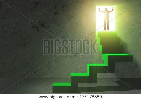 Young businessman climbing career ladder