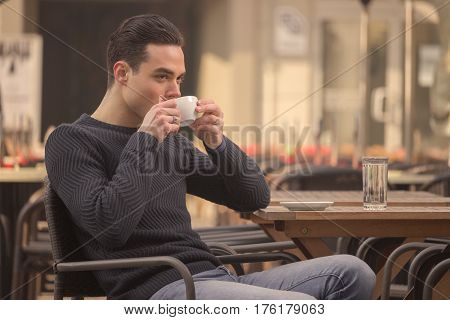 Young Man Drinking, Coffee Cup, Outdoors