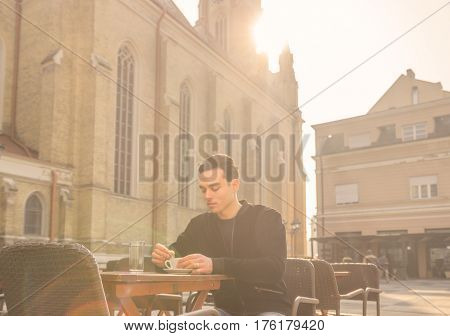 Young Man Outdoors, Cafe Coffee Cup, Cathedral Architecture Sunny Sun
