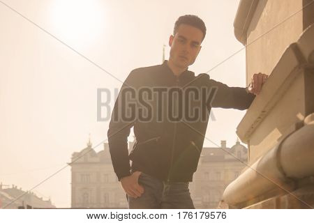 Young Man Strong Harsh Sunlight Daylight Sun, Sunny Day Outdoors City Portrait