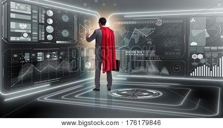 Superhero in data management concept