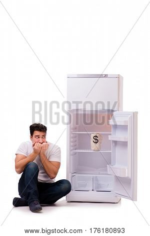 Hungry man looking for money to fill the fridge