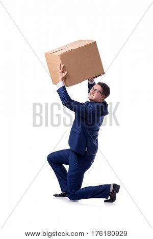 Businessman lifting box isolated on white