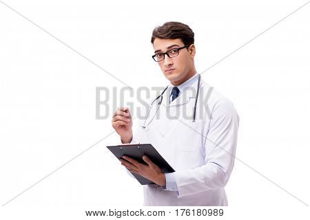 Young doctor isolated on white background