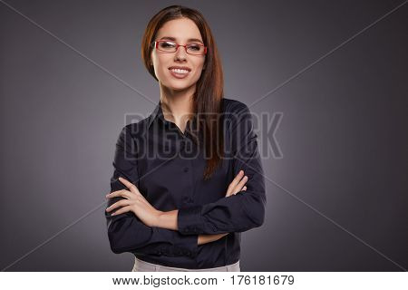 successful business woman. Isolated over grey  background