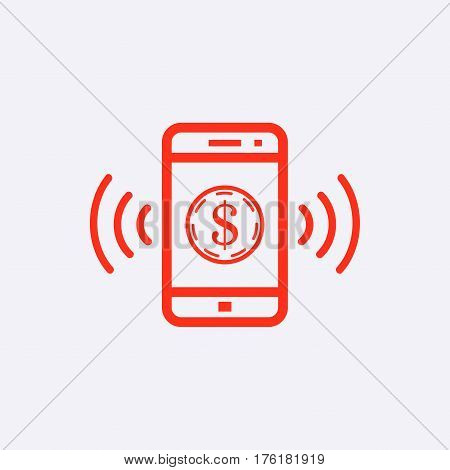 phone and money icon stock vector illustration flat design