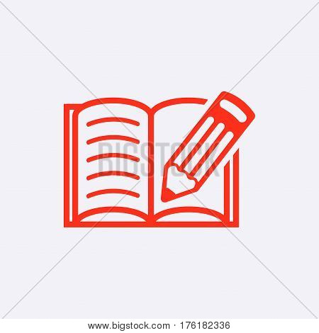 open book and pencil icon stock vector illustration flat design