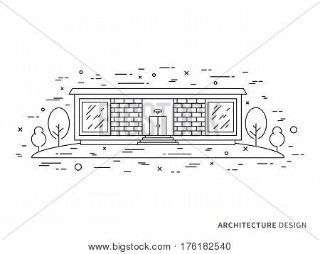 Linear flat architecture landscape design illustration of modern designer brick house mansion homestead with windows trees. Outline vector graphic concept of architecture landscape design