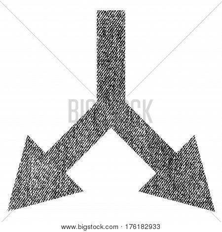 Bifurcation Arrow Down vector textured icon for overlay watermark stamps. Fabric black vectorized texture. Symbol with dust design. Rubber seal stamp with fiber textile structure.