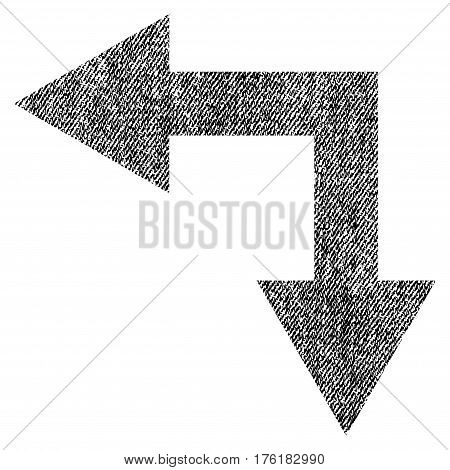 Bifurcation Arrow Left Down vector textured icon for overlay watermark stamps. Fabric black vectorized texture. Symbol with scratched design. Rubber seal stamp with fiber textile structure.