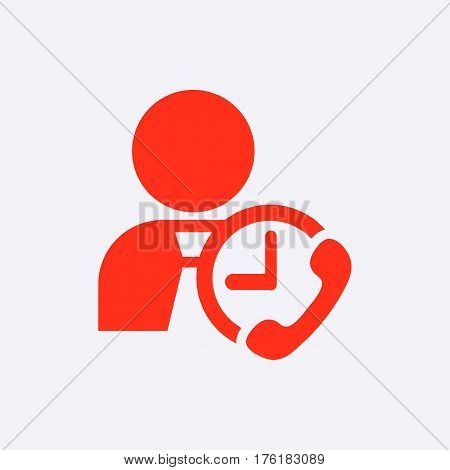 man clock phone icon stock vector illustration flat design