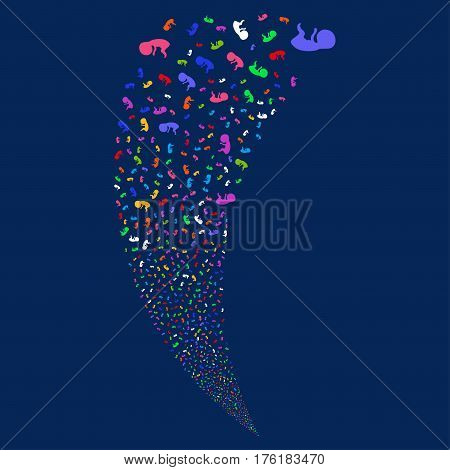 Human Embryo random fireworks stream. Vector illustration style is flat bright multicolored iconic symbols on a blue background. Object fountain constructed from scattered symbols.