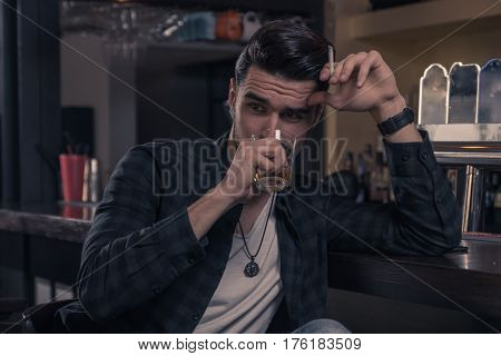 One Young Man Only, Handsome Sideways Glance Drinking Spirit Alcohol Drink Bar