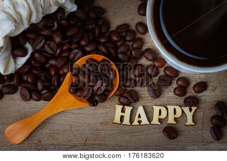 Coffee Bean With A Cup Of Coffee And Wood Alphabets