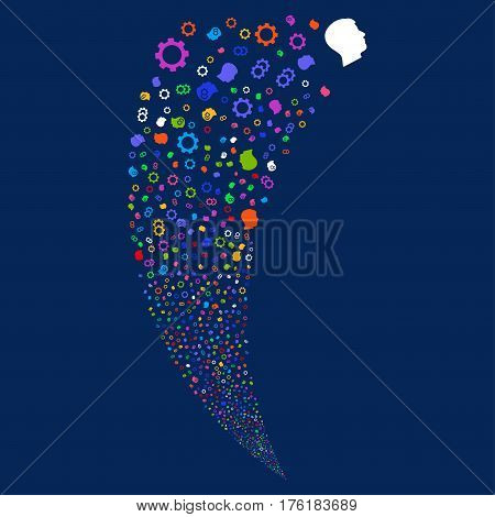 Intellect Gears random fireworks stream. Vector illustration style is flat bright multicolored iconic symbols on a blue background. Object fountain constructed from scattered pictograms.