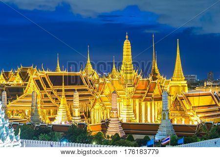 Bangkok skylineWat Phra Kaew the famous place in Bangkok temple of the emerald Buddha and Grand Palace in Bangkok Thailand
