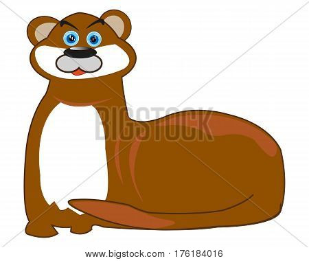 Animal otter on white background is insulated