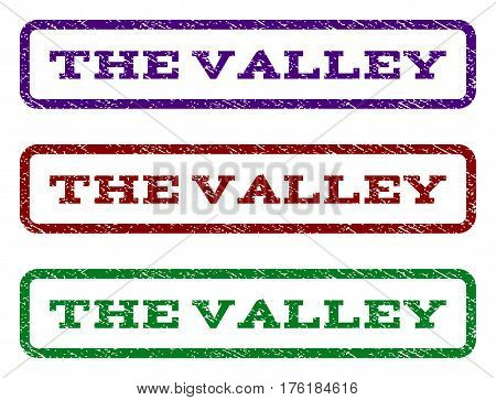 The Valley watermark stamp. Text tag inside rounded rectangle with grunge design style. Vector variants are indigo blue, red, green ink colors. Rubber seal stamp with dirty texture.