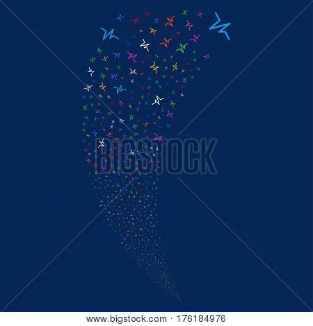 Pulse random fireworks stream. Vector illustration style is flat bright multicolored iconic symbols on a blue background. Object fountain done from scattered symbols.