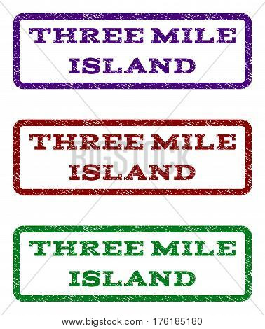 Three Mile Island watermark stamp. Text caption inside rounded rectangle frame with grunge design style. Vector variants are indigo blue, red, green ink colors.