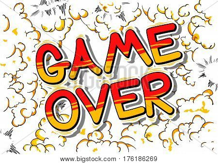 Game Over - Comic book style word on abstract background.