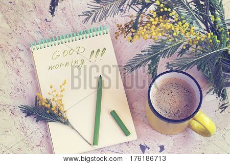 Morning coffee a bouquet of mimosas and a good morning's wish toned