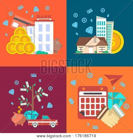 Financial investment banner set in flat design vector illustration. Investing in securities, commercial real estate, jewelry and cash, bank deposits. Financial strategic management and planning design
