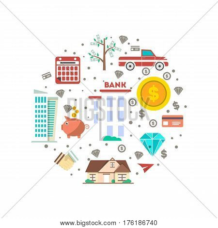 Financial investment banner in flat design vector illustration. Investing in securities, commercial real estate, jewelry and cash, bank deposits. Financial strategic management and planning design