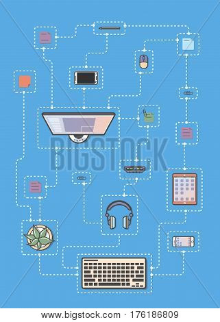 Mobile programming infographic vector illustration. Desktop computer, smartphone, tablet, headphones, cactus. Mobile application development, smartphone apps coding, software testing and debugging