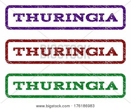 Thuringia watermark stamp. Text tag inside rounded rectangle frame with grunge design style. Vector variants are indigo blue, red, green ink colors. Rubber seal stamp with dirty texture.