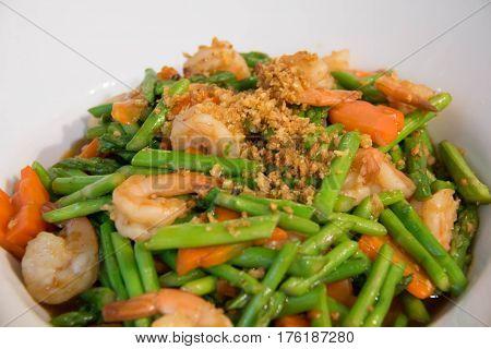 Delicious thai food Asparagus stir fried with prawns
