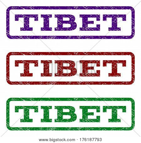 Tibet watermark stamp. Text tag inside rounded rectangle with grunge design style. Vector variants are indigo blue, red, green ink colors. Rubber seal stamp with scratched texture.