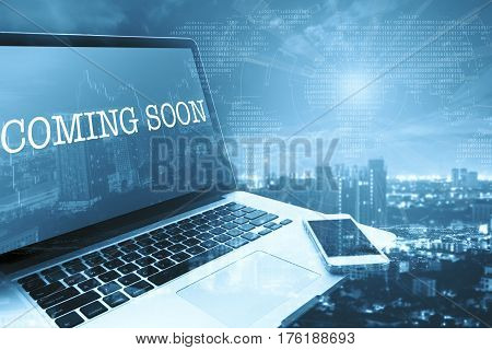 COMING SOON: Grey computer monitor screen. Digital Business and Technology Concept.