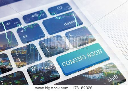 COMING SOON: Green button keyboard computer. Double Exposure Effects. Digital Business and Technology Concept.