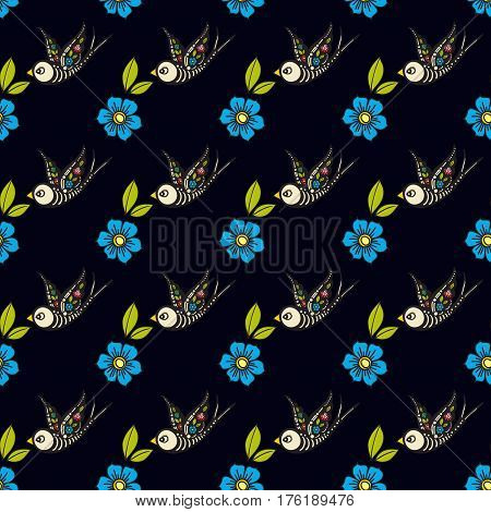 Swallows and flowers in an old-style tattoo. The day of the Dead. A seamless pattern on a black background. Texture for vintage scrapbooking, wrapping paper, textiles, web page, surface design fashion