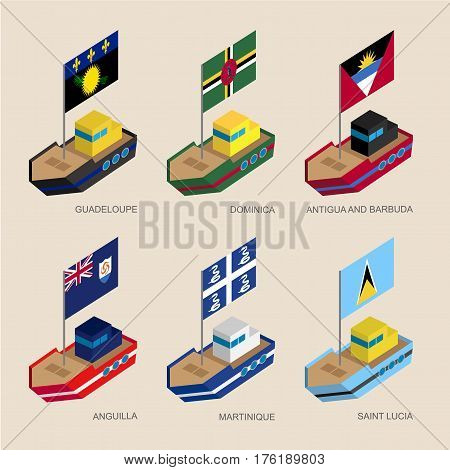 Isometric Ships With Flags: Guadeloupe, Dominica, Antigua, Martinique, Anguilla