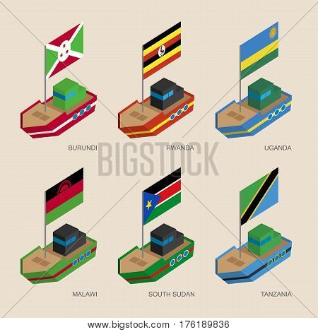 Set Of Isometric Ships With Flags Of African Countries.