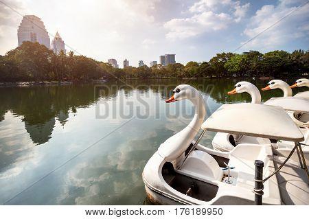 Boat In Lumpini Park In Bangkok